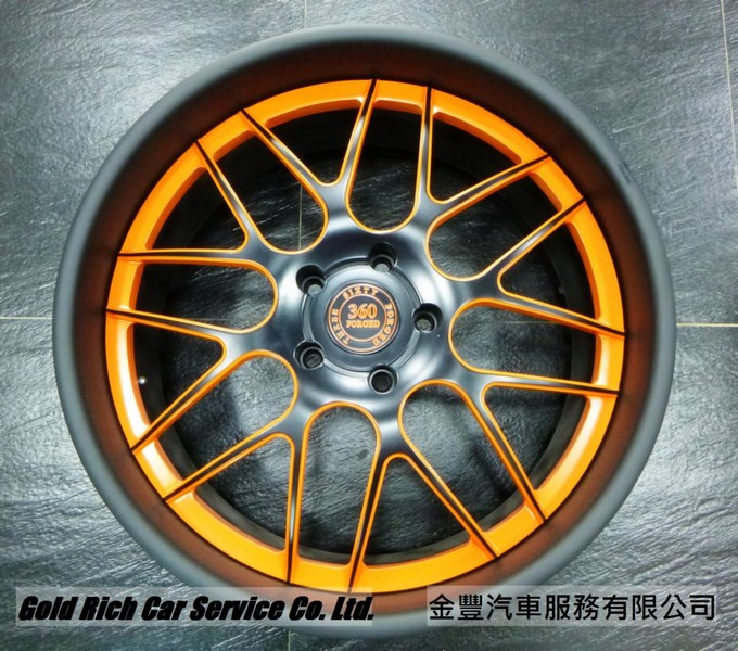 360 Forged Mesh 8,美國鍛造3夾輪圈, 22 inch ,Matt Black with Orange Window, for Porsche Cayenne,Audi Q7,M.Benz G-Class