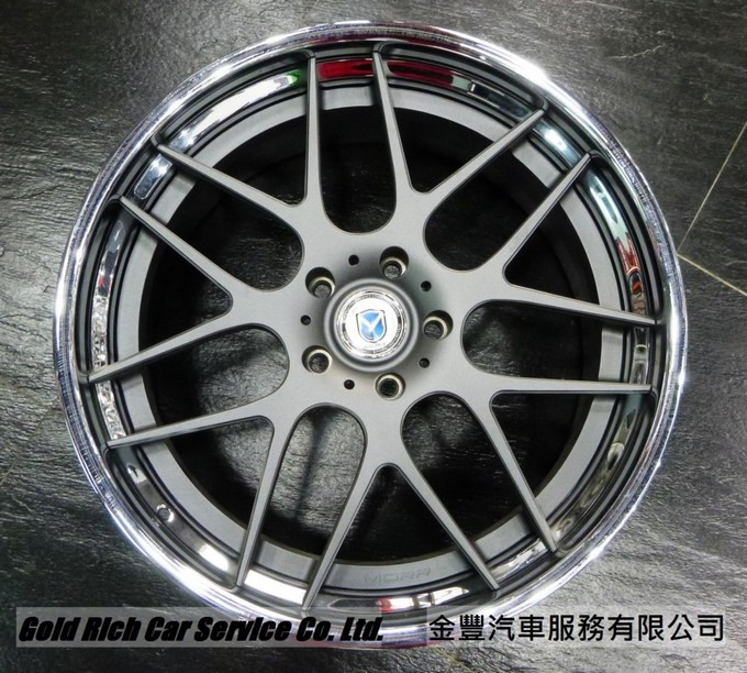 MORR MS8 ,美國鍛造3夾輪圈, 22 inch ,Texture Gunmetal with Polish Lip,for Porsche Cayenne,Audi Q7,M.Benz G-Class